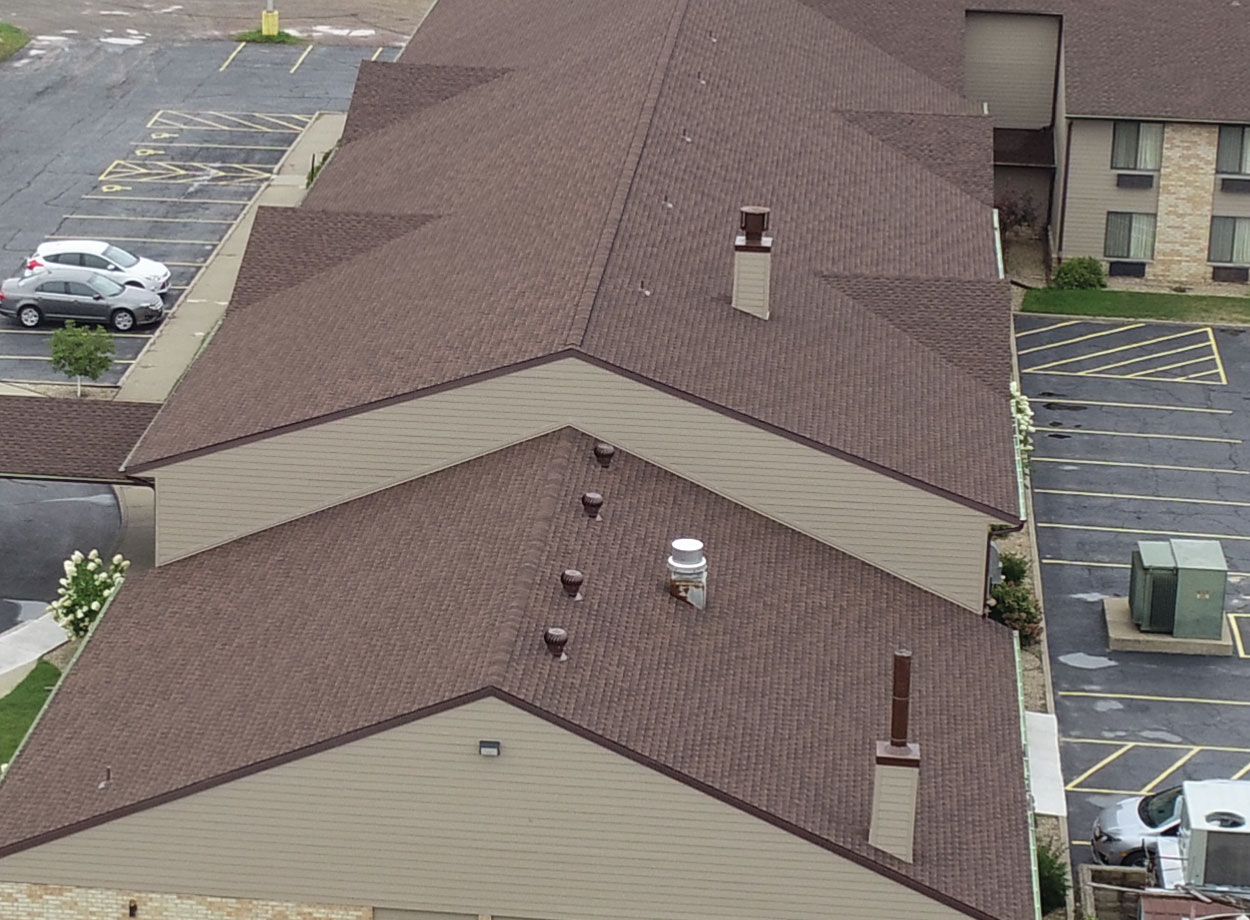 Commercial roof replacement areal view